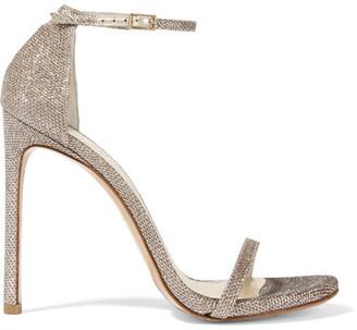 Stuart Weitzman - Nudist Metallic Mesh Sandals - Platinum $400 thestylecure.com