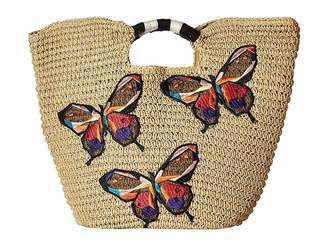 San Diego Hat Company BSB1728 Paper Tote with Butterfly Embroidery Tote Handbags