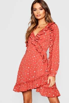 boohoo Ruffle Detail Polka Dot Tea Dress