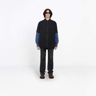 Balenciaga Double sleeve denim and striped shirt