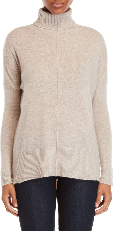 Vertical Design Cashmere Hi-Low Turtleneck Sweater