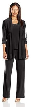 R&M Richards Women's 3 Piece Glitter Trim Pant Set with Sheer Jacket $80.25 thestylecure.com