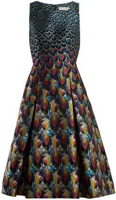 Mary Katrantzou Talon feather-jacquard midi dress
