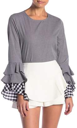 ENGLISH FACTORY Tiered Bell Sleeve Top