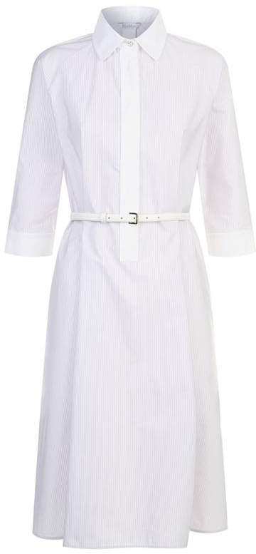 Belted Pinstripe Shirt Dress