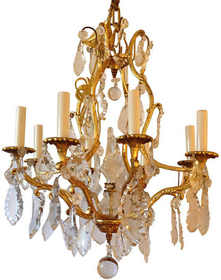 One Kings Lane Vintage French Crystal & Gilt Bronze Chandelier - Chez Marie Antiques