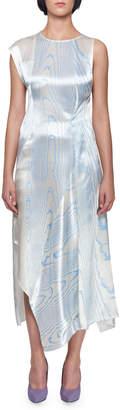 Victoria Beckham Sleeveless Satin Moire Print Asymmetric Drape Midi Dress