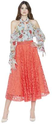 Alice + Olivia Earla High Waist Flare Mid Length Neon Skirt