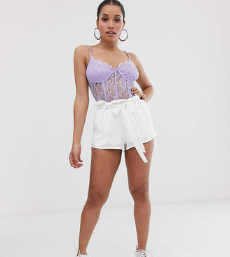 PrettyLittleThing Petite Petite shorts with paper bag waist in cream