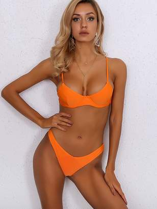 Shein Joyfunear Neon Orange Push Up Top With High Cut Bikini