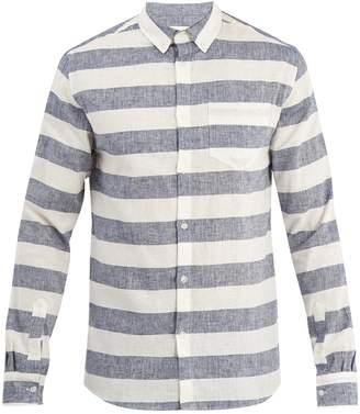 Solid & Striped Striped button-down cotton linen shirt