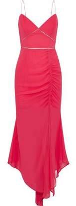 Nicholas Asymmetric Ruched Silk-chiffon Midi Dress