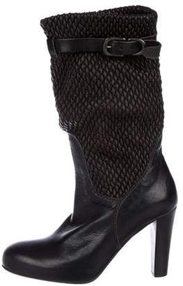 Henry Beguelin Woven Leather Mid-Calf Boots