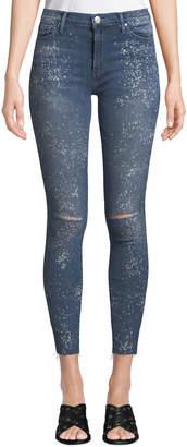 Black Orchid Noah Frayed Splatter-Paint Ankle Skinny Jeans