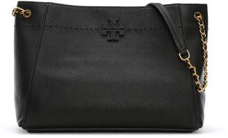 Tory Burch McGraw Black Leather Slouchy Tote Bag