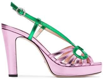 Gucci metallic pink 105 slingback sandals