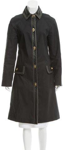 Miu MiuMiu Miu Leather-Trimmed Long Coat