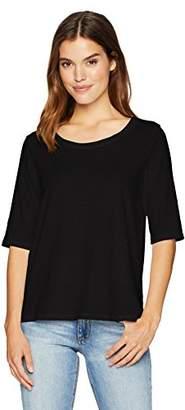 Michael Stars Women's Supima Cotton Slub Elbow Sleeve Swing tee Shirt