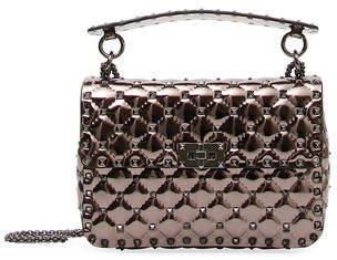 Valentino Rockstud Spike Medium Metallic Fabric Shoulder Bag