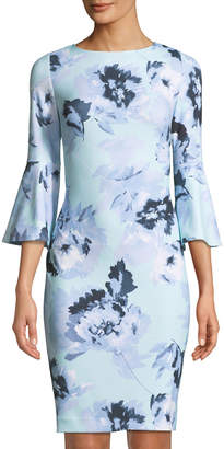 Iconic American Designer Floral Bell-Sleeve Sheath Dress
