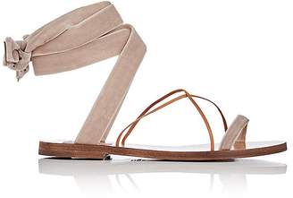 Valentino Women's Velvet & Leather Ankle-Wrap Sandals $595 thestylecure.com
