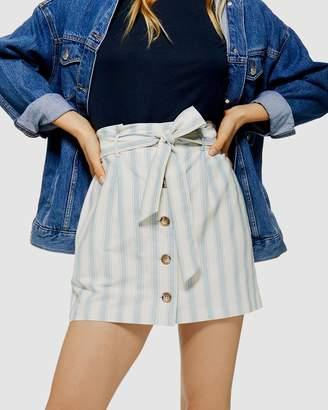 Topshop Stripe Paperbag Linen-Like Mini Skirt
