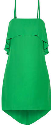 Alice + Olivia Alice Olivia - Reese Layered Asymmetric Crepe De Chine Mini Dress - Green $270 thestylecure.com