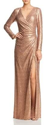 Tadashi Shoji Sequined Faux-Wrap Gown