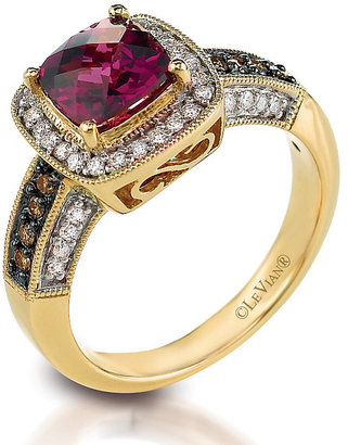 Le Vian 14ct Honey Gold diamond & rhodolite ring