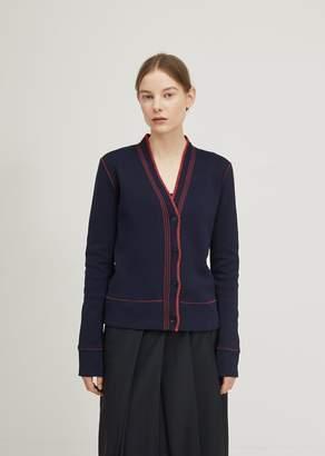 Jil Sander Contrast Stitching Cardigan Dark Blue