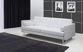 line Contemporary Modern SO1195P-WHT Giovanni Faux Leather Sofa Bed with Stainless Steel Legs