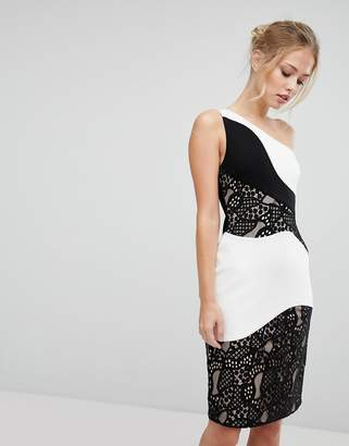Aijek One Shoulder Midi Pencil Dress With Monochrome Lace Detail