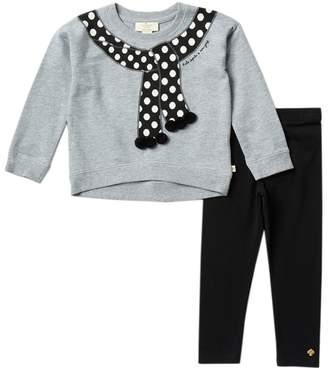 Kate Spade pompom trim trumpe l'oiel sweater & legging set (Toddler & Little Girls)