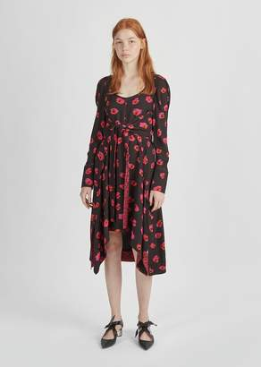 Proenza Schouler Printed Halter Tie Dress Black/Electric Pink/Pumpkin Print