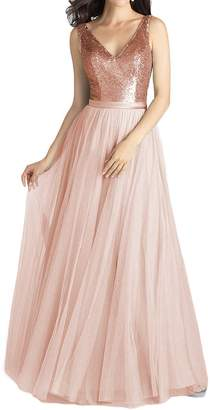 Camilla And Marc Pretygirl Women's V Neck Sequined Tulle Bridesmaid Dress A-Line Long Prom Evening Gown (US cm, )