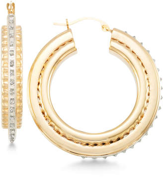 Signature Diamonds Three-Dimensional Hoop Earrings in 14k Gold over Resin Core Diamond and Crystallized Diamond Dust