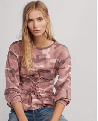 Express one eleven camo corset waist sweatshirt