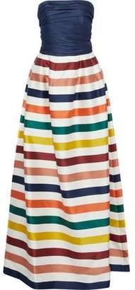Carolina Herrera Strapless Striped Cotton And Silk-Blend Duchesse Satin Gown