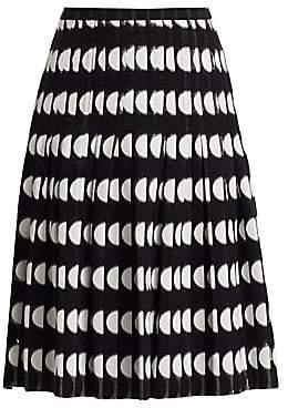 Akris Punto Women's Half Dot Lace Pleated A-Line Skirt