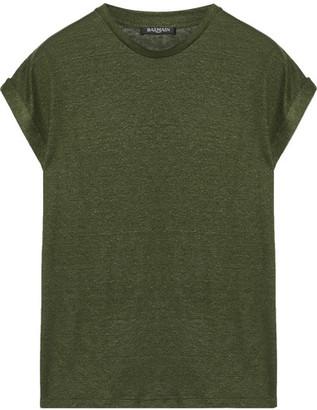 Balmain - Slub Linen-blend T-shirt - Army green $680 thestylecure.com