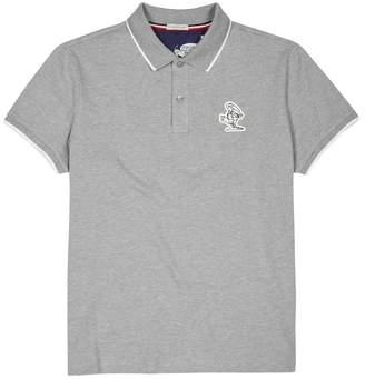 Moncler Grey Piqué Cotton Polo Shirt