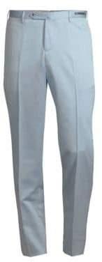 Pt01 Cement Solaro Flat-Front Wool-Cotton Pants
