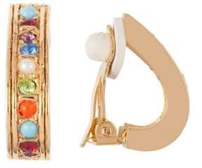 Susan Caplan Vintage 1980s Vintage D Orlan Swarovski Crystal Demi-hoop Clip-on Earrings