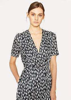 Paul Smith Women's 'Dancing Cats' Print Silk-Blend Dress