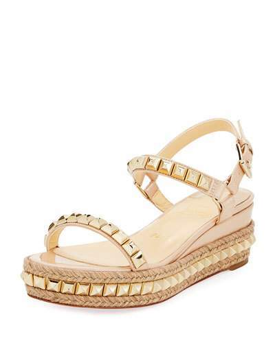 Christian Louboutin Christian Louboutin Cataclou Two-Band Red Sole Wedge Sandal, Nude