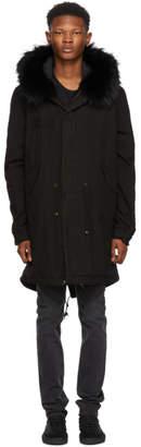 Mr & Mrs Italy Black Fur Long Quilt Parka