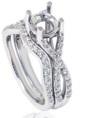 Pompeii3 3/4ct Twist Engagement Matching Ring Set Semi Mount Setting Vintage White Gold