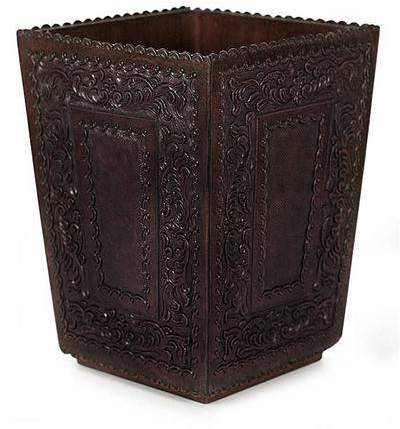 Classic Hand Tooled Leather And Wood Waste Basket