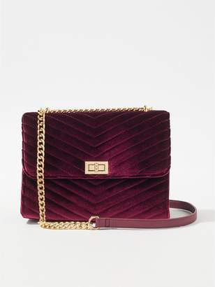 At Littlewoods Miss Selfridge Velvet Quilted Cross Body Bag Burgundy