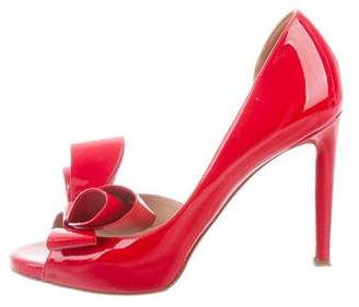 Valentino Bow-Accented Peep-Toe Pumps